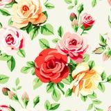 与玫瑰的墙纸 免版税库存照片