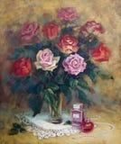 与玫瑰的女性仍然寿命 免版税图库摄影
