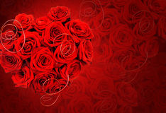 与玫瑰的心脏的背景 免版税图库摄影