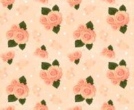与玫瑰的无缝的墙纸,奶油 库存照片