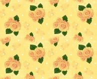 与玫瑰的无缝的墙纸,黄色 免版税库存图片
