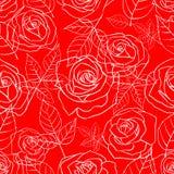 与玫瑰的无缝的样式在红色 皇族释放例证