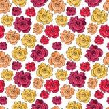 与玫瑰的无缝的背景-向量模式 库存例证