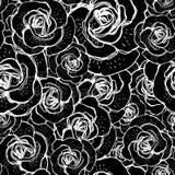 与玫瑰的无缝的黑白背景 免版税库存图片