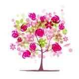 与玫瑰的春天树您的设计的 库存照片
