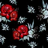 与玫瑰的样式 向量例证