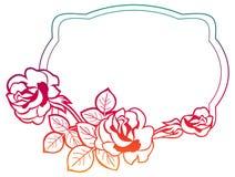 与玫瑰的梯度框架 光栅剪贴美术 免版税库存照片