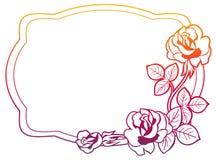 与玫瑰的梯度框架 光栅剪贴美术 免版税库存图片
