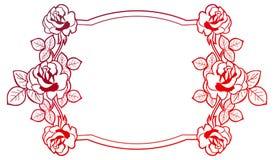 与玫瑰的梯度框架 光栅剪贴美术 图库摄影