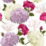 与玫瑰的植物的无缝的样式,八仙花属,郁金香开花 免版税库存图片