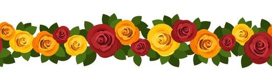与玫瑰的水平的无缝的背景。 向量例证