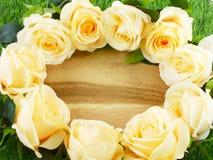 与玫瑰的浪漫花卉框架 库存图片