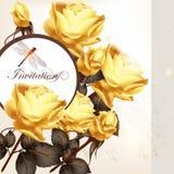 与玫瑰的美丽的邀请卡片 免版税库存图片