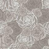 与玫瑰的艺术装饰花卉无缝的样式 免版税库存图片