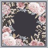 与玫瑰的花卉方形的背景模板 向量例证