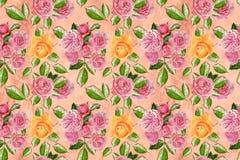与玫瑰的花墙纸 库存图片