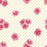与玫瑰的花无缝的样式 免版税库存照片
