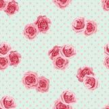 与玫瑰的花无缝的样式 库存图片