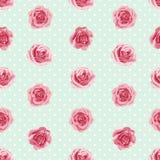 与玫瑰的花无缝的样式 免版税库存图片