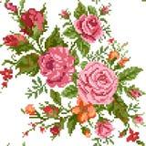 与玫瑰的花束的花卉背景 免版税图库摄影