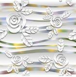 与玫瑰的被弄脏的无缝的波浪样式 3d 库存照片