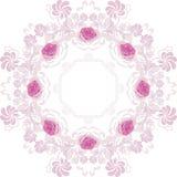 与玫瑰的装饰紫色圆元素 免版税图库摄影
