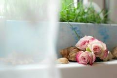 与玫瑰的静物画 免版税库存照片