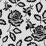 与玫瑰的黑无缝的鞋带样式在透明背景 库存例证