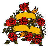 与玫瑰的经典纹身花刺丝带 免版税图库摄影