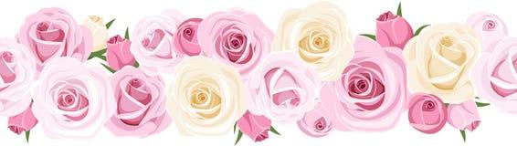 与玫瑰的水平的无缝的背景。 库存照片