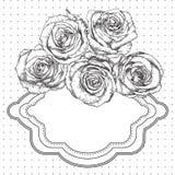 与玫瑰的黑白葡萄酒背景 免版税图库摄影