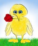 与玫瑰色动画片的鸟 免版税图库摄影