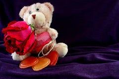 与玫瑰色和心脏的米黄熊 干燥上升了 重点三 免版税库存图片