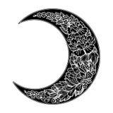 与玫瑰色或牡丹的美丽的浪漫新月形月亮开花 免版税库存图片