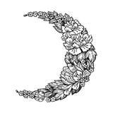 与玫瑰色或牡丹的美丽的浪漫新月形月亮开花 库存照片