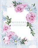 与玫瑰色花传染媒介的精美葡萄酒框架 婚姻的邀请花卉装饰 老难看的东西作用 3D例证 皇族释放例证
