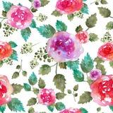 与玫瑰色花和叶子的葡萄酒花卉无缝的样式 不尽纺织品的墙纸的印刷品 手拉的水彩 免版税库存照片