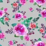 与玫瑰色花和叶子的葡萄酒花卉无缝的样式 不尽纺织品的墙纸的印刷品 手拉的水彩 免版税图库摄影
