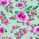 与玫瑰色花和叶子的葡萄酒花卉无缝的样式 不尽纺织品的墙纸的印刷品 手拉的水彩 库存照片