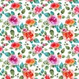 与玫瑰色花和叶子的葡萄酒花卉无缝的样式 不尽纺织品的墙纸的印刷品 手拉的水彩 图库摄影