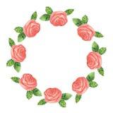 与玫瑰色花和叶子的水彩框架 免版税库存照片