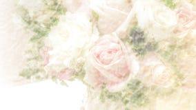 与玫瑰色花束的抽象模糊的纸纹理背景 库存照片