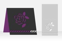 与玫瑰色花激光切口的贺卡 剪影设计 免版税库存照片