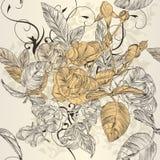 与玫瑰色花的典雅的无缝的墙纸样式 免版税库存照片