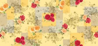 与玫瑰色花的无缝的几何背景纹理 皇族释放例证