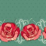 与玫瑰色花的无缝的在绿色背景的样式在红色和小点 图库摄影