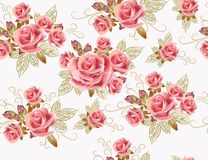 与玫瑰色花的逗人喜爱的无缝的墙纸设计 库存照片