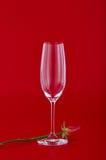 与玫瑰色花的酒杯在红色 免版税库存图片