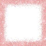 与玫瑰色金子闪烁的边界框架在白色背景 向量 库存例证