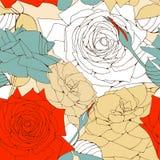 与玫瑰花的无缝的模式。 免版税库存照片